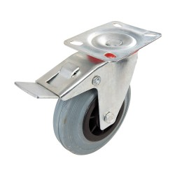 Kólko skretne gumowe z hamulcem125 mm 100 kg-663584-Fixman