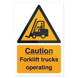 Znak: Caution Forklift TrucksSztywny