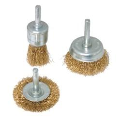 Zestaw mosieznych szczotek doczolowych i tarczowych