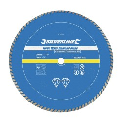 Tarcza diamentowa Turbo300 x 20 mm azurowa obrecz ciagla-675104-Silverline