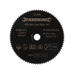 HSS mini tarcza tnacaSrednica 85 mm - otwór 10 mm - 80 T-672886-Silverline